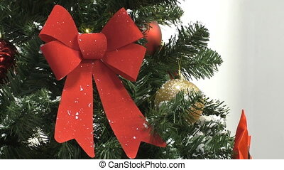 Christmas tree red bow close up