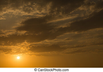 sunset sky background, light rays of sunbeam in evening