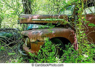 Red Pickup Truck in Woods - DETROIT, MICHIGAN - May 11,...