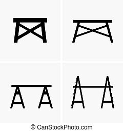 Construction trestles - Set of four Construction trestles