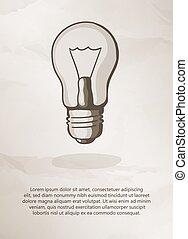 Bulb on grunge background. Vintage Label, Logo, Frame,...