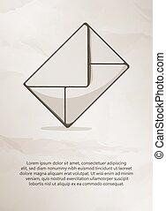Envelope on grunge background. Vintage Label, Logo, Frame, Brochures. Design Templates. Vector illustration.