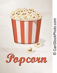 Grunge Cover for Fast Food Menu - Popcorn on vintage background. Vector illustration.