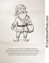 vendange, Style, père, noël, /, Santa, Claus., vendange,...