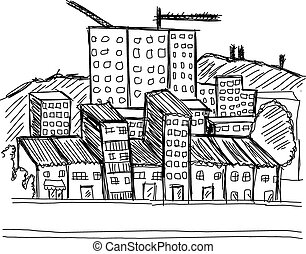 Sketch Building City Vector