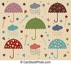 Rain Umbrella Vector with Star and