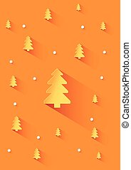 Orange background with orange christmas trees