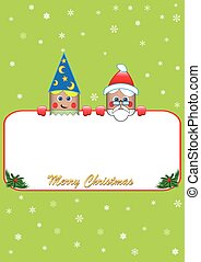 Christmas poster with elf and santa