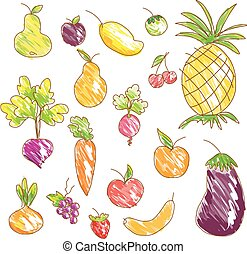 Vector vegetables and fruits