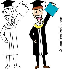 Vector Illustration of Graduate Man