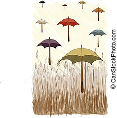 Vector of Umbrella with Grass