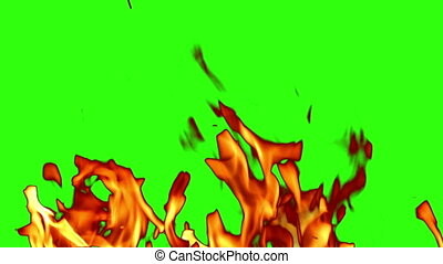 green screen, flames and sparks - flames and sparks on...