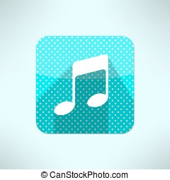 Vector music note icon in modern flat design on a halftone...