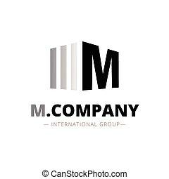 Vector trendy isometric M letter logo - Vector modern...