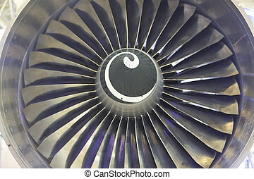 Airplan Turbo-jet engine, close up - Detail of a Steel Plane...