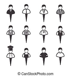 Business people icons set, Man