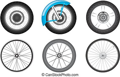 bike wheel set - realistic black motorcycle and bicycle...