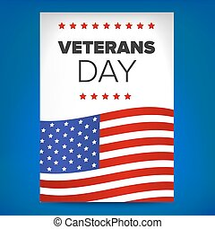 veterans day template - veterans day flyer concept on a blue...