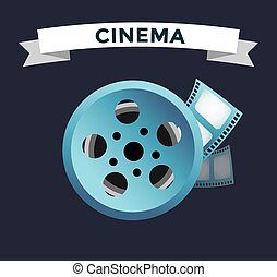 Film cinema technology vector Twisted movie film strip with...
