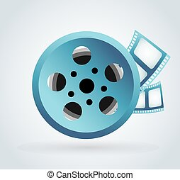 Film cinema technology Twisted movie film strip with round...