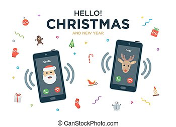 Christmas Greeting Card with phone call from Santa Claus and...