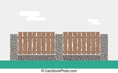 Wooden and stone fence isolated on night background - Wooden...