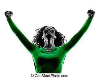 woman happiness arms raised silhouette isolated - one mixed...