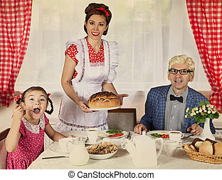 Retro styled family at home - Retro styled family portrait...