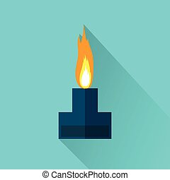 Alcohol lamp icon - Alcohol lamp with flame icon. Flat color...