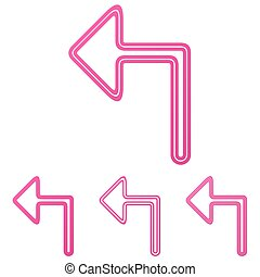 Pink turn left logo design set - Pink turn left icon logo...