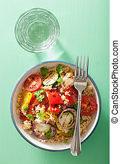 healthy couscous salad with grilled tomato pepper zucchini...