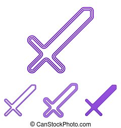 Purple line sword logo design set - Purple line sword icon...