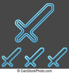 Blue line sword logo design set - Blue line sword icon logo...
