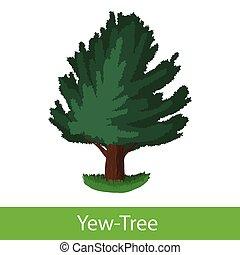 Yew-Tree cartoon icon Single illustration on a white...