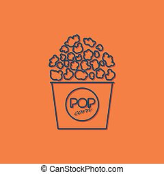 Vector pop corn icon - Vector blue pop corn icon on orange...