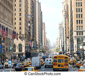 New York - NEW YORK: traffic on a busy street in New York...