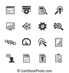 Big data icons set SEO concept