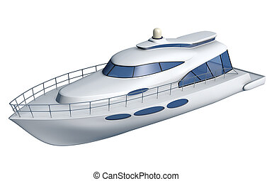 Sport Fishing Boat isolated. 3d illustration