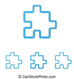 Blue line puzzle logo design set
