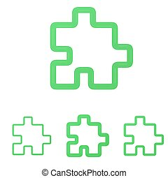 Green line puzzle logo design set