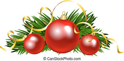 Christmas balls with fir tree branch. Clip art