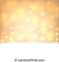 snowflakes border with shiny golden background