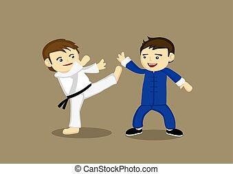 Japanese Karate Versus Chinese Kung Fu Illustration