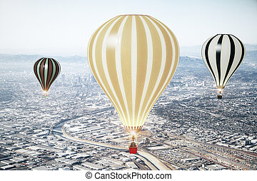 Flying baloons in the sky of megapolis city