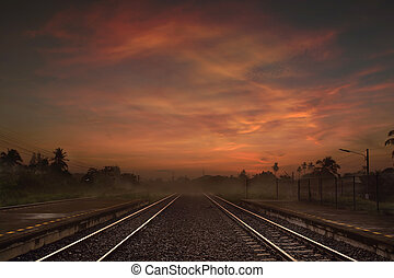 Railway way at the Dusk or in the Morning
