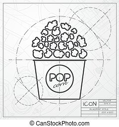 Vector pop corn icon - Vector blueprint of pop corn icon on...