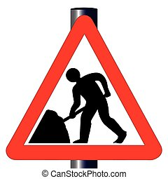 Roadworks Traffic Sign - The traditional men working...
