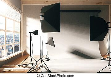 Interior empty photo studio with window