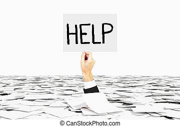 Man hand asks for help among heap of paper, bureaucracy...