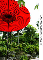 Red Parasol in Japan - Red parasol in a Japanese tea house...